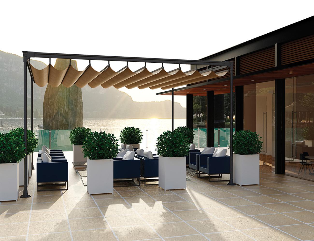 Toldos de lona para terrazas terraza compuesta de toldos for Estructura de aluminio para toldo